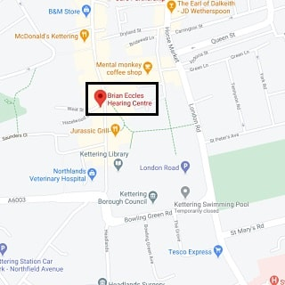 Brian Eccles Hearing Centre Kettering location map