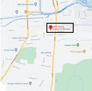 Mark Darling Opticians and Eyecare Northampton location map